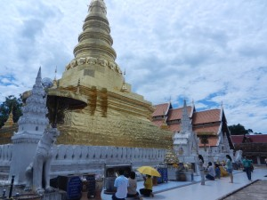 The stupa and vihara of Wat Phra That Chae Haeng, Nan, Thailand