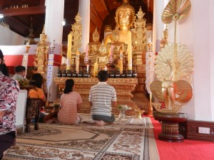 Inside the vihara of Wat Phra That Chae Haeng, Nan, Thailand.