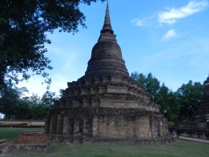 The octagonal stupa in Sukhothai's Wat Mahathat, Thailand