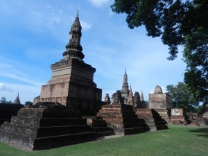 The other lotus bud-shaped stupa in Sukhothai's Wat Mahathat, Thailand
