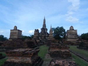 Sukhothai's Wat Mahathat from the west, Thailand