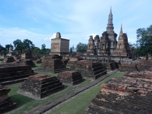 The western part of Sukhothai's Wat Mahathat, Thailand