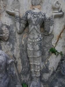 Thai sculpture on Wat Chedi Si Hong, Sukhothai, Thailand.