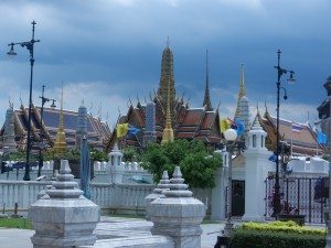 The royal palace in Bangkok during the rainy season.