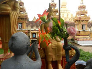 Enchantments around Wat That Luang, Vientiane, Laos.